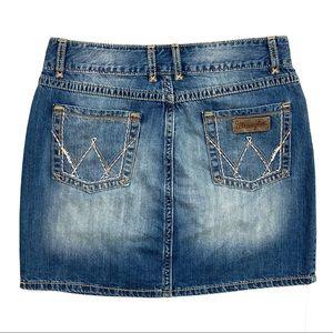 Wrangler Premium Patch Denim Skirt Western Mini
